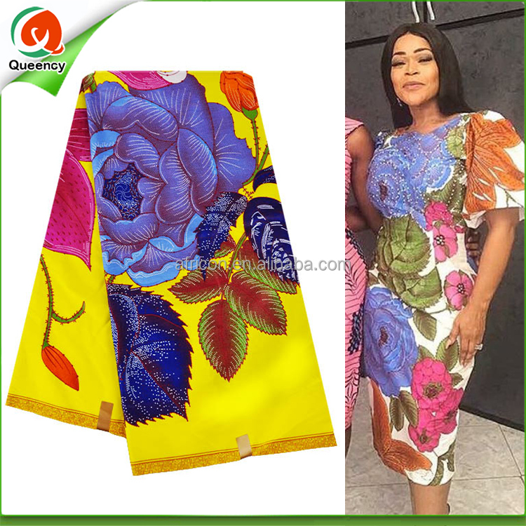 U252 Queency Latest African Flower Printing Styles Cheap Ankara Spandex Fabric Textile with High Quality