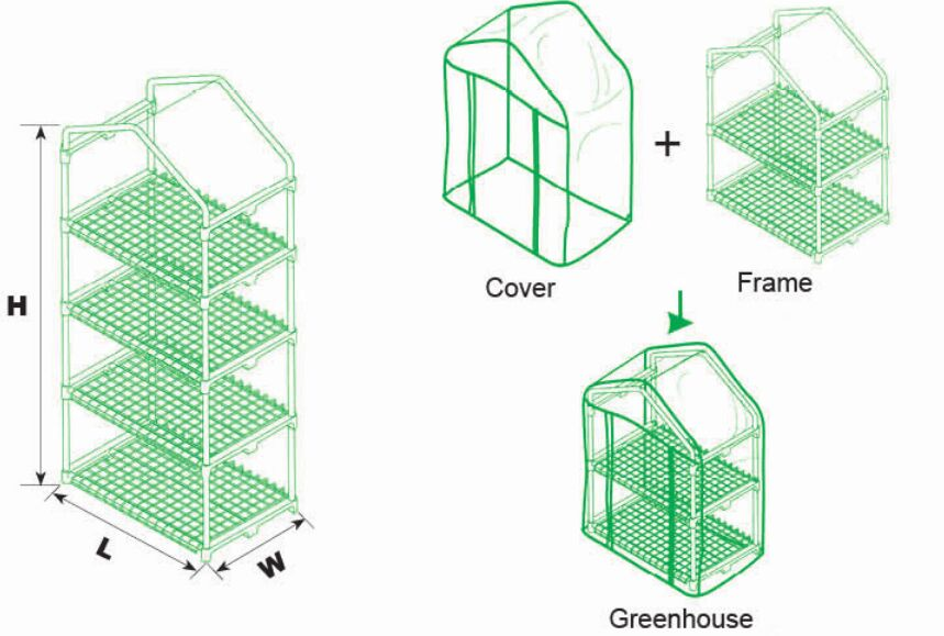 G-MORE 4 Tiers PVC Steel Tube Mini Greenhouse