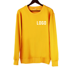 2019 Unsexed  Long Sleeve Solid Color Hoodie Plain Blank Discount Yellow Crew Neck Sweatshirt