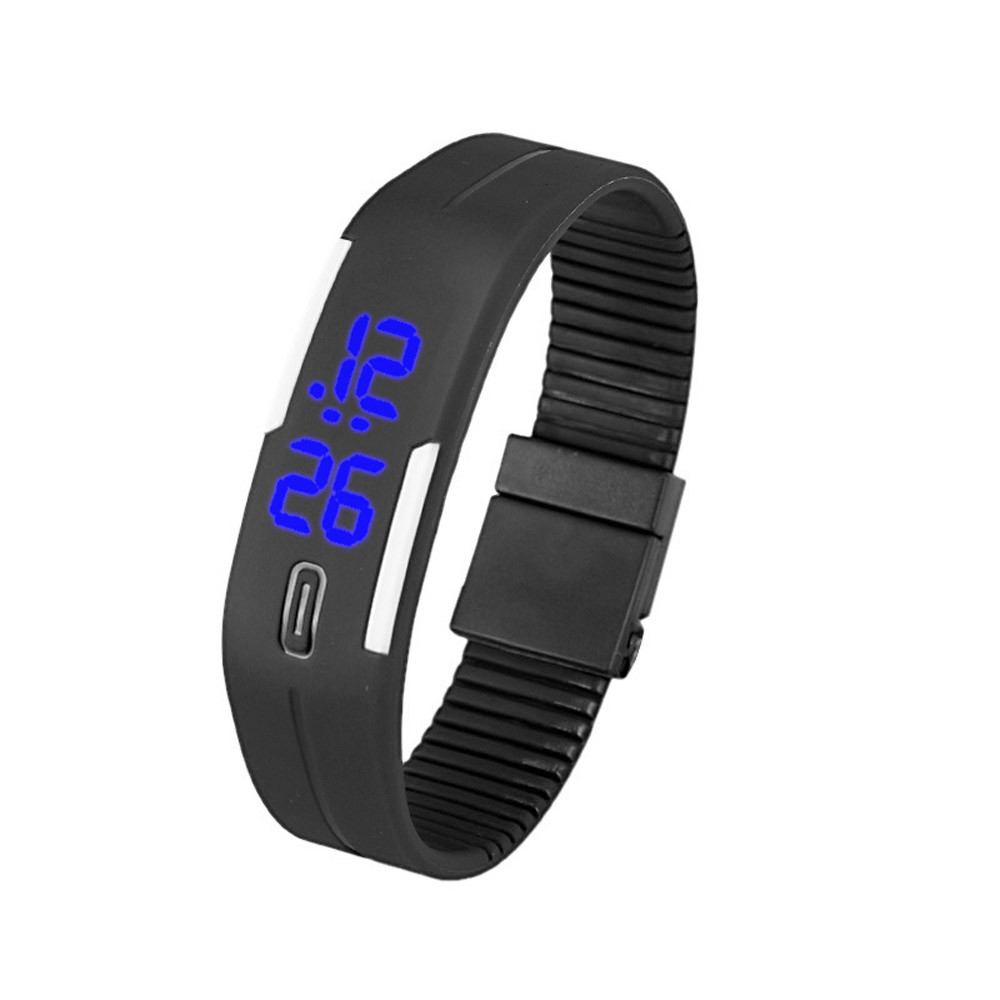 df6455c45eb6 Hombres Mujeres Caucho Azul LED Reloj Sport Casual Fecha Pantalla táctil Relojes  Pulsera Reloj de pulsera digital Marca Reloj 13 Color caramelo