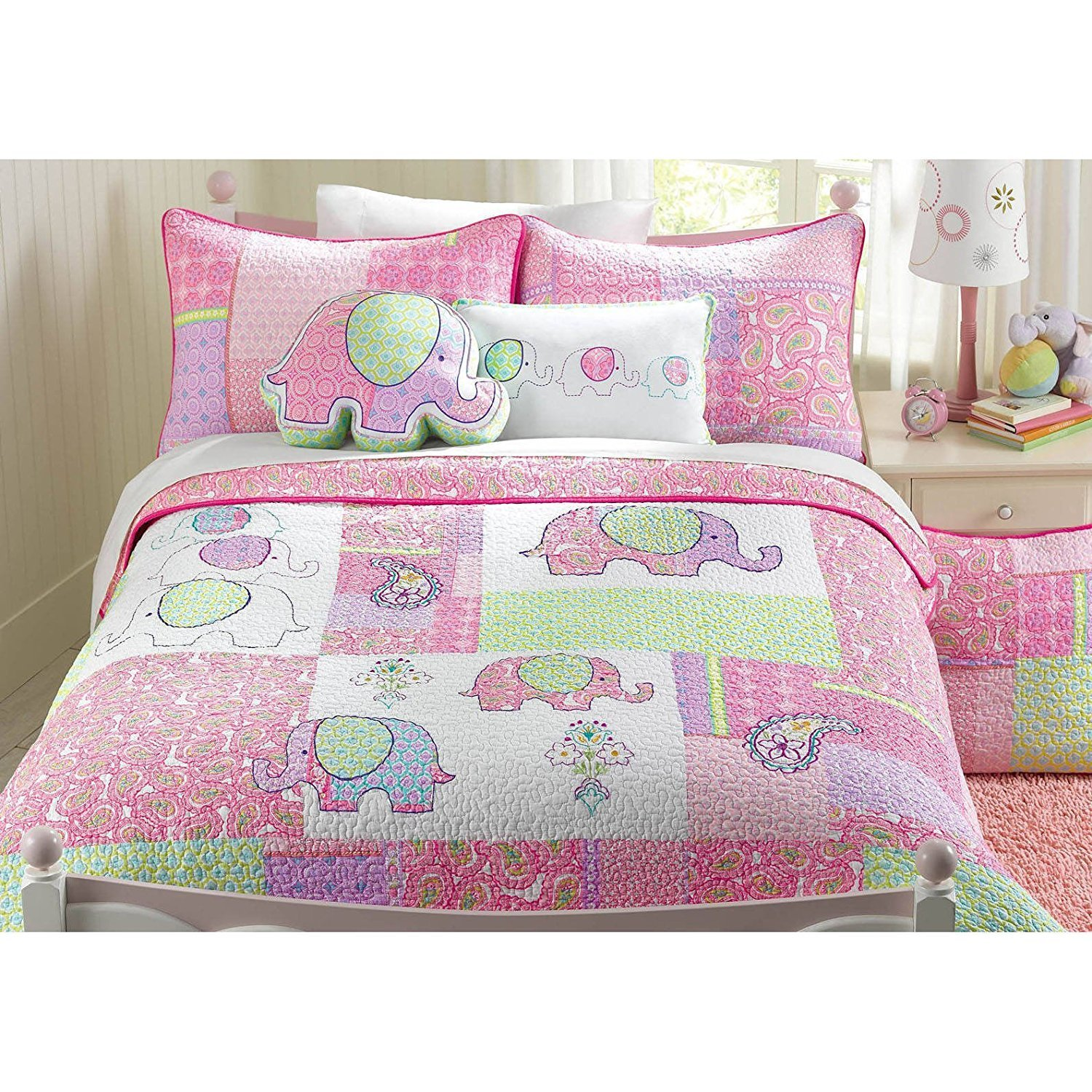 2pc Adorable Purple Green Pink Blue White Twin Quilt Set, Elephant Themed Bedding Colorful Fun Cute Animal Patchwork Girls Kids Flower Floral Paisley Daisy Jungle Pretty, Cotton