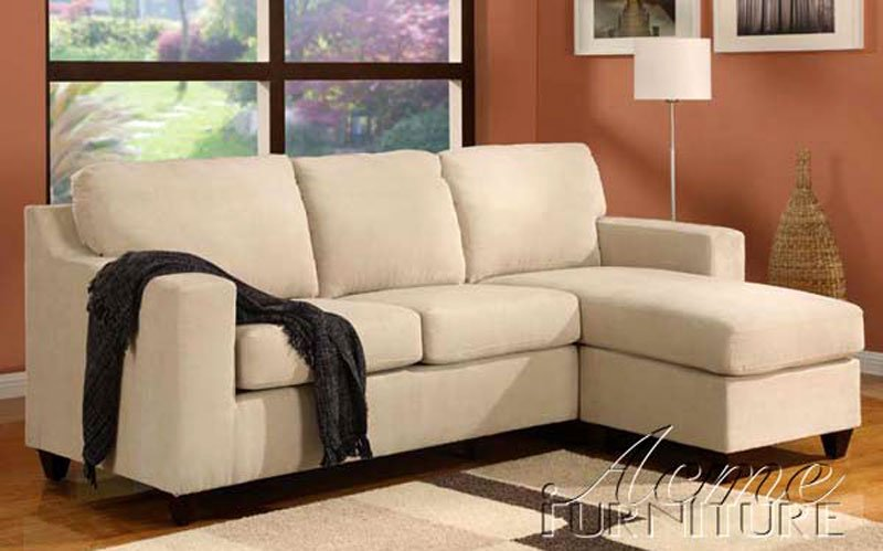 Small Sectional Sofa Microfiber Beige
