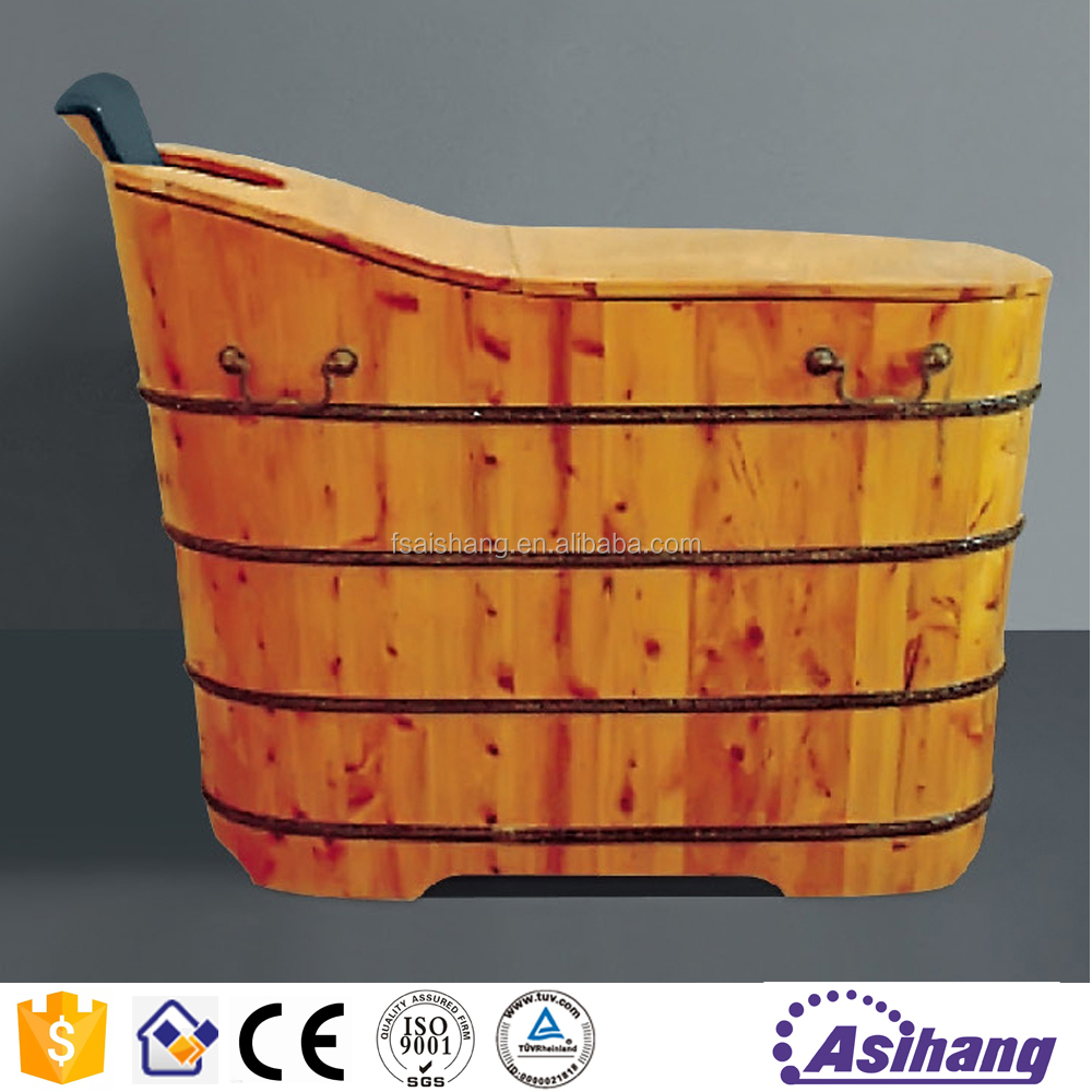 New design hot sell portable sitting teak wood bathtub