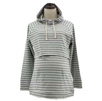 Hot selling women striped hooded maternity breastfeeding clothing