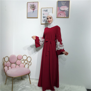 Latest soft crepe with lace and pearl muslim women maxi dress abaya with belt