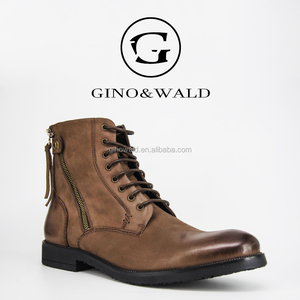 GINOWALD catwalk style cowboy style leather men casual boots shoes