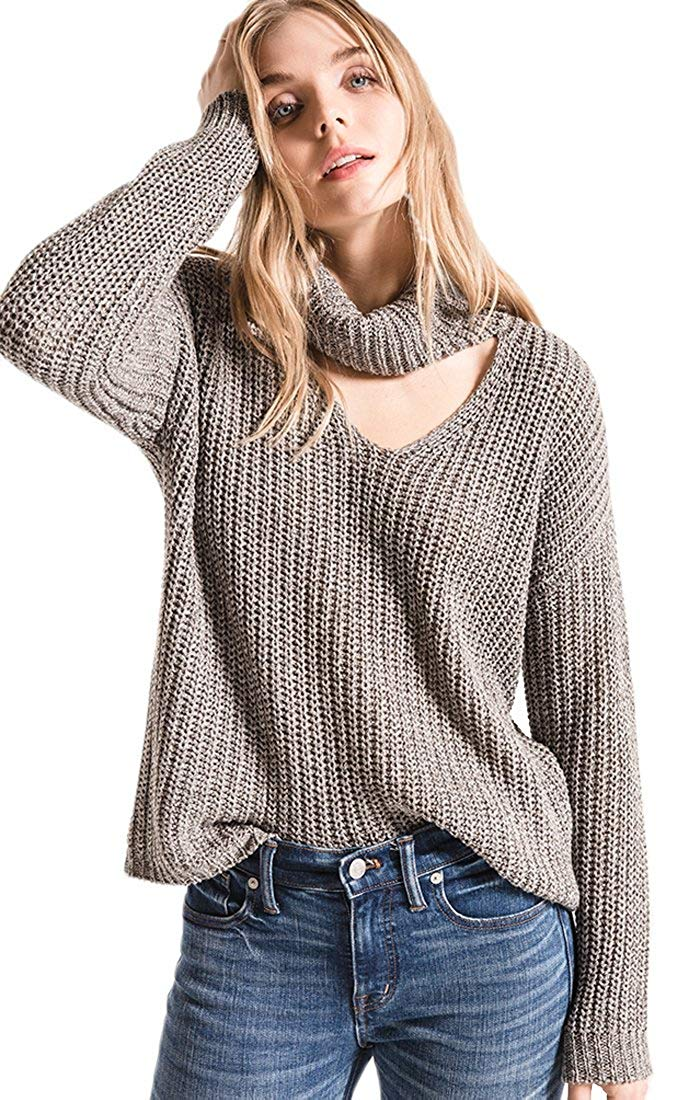 Imily Bela Womens Off The Shoulder Sweater Cowl Neck Pullover Long Sleeve Oversized Jumper