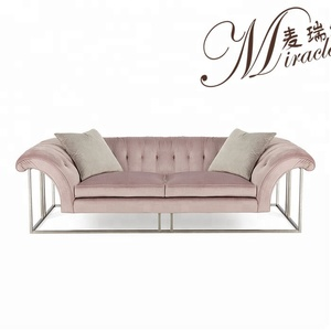 Pink tufted button sofa living room sofa set with metal frame hotel clothing store used customized luxury couch