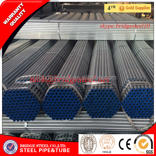 Gi Construction Material hot dipping galvanizing steel tubing threaded with plastic caps