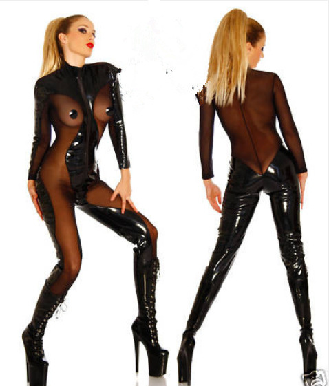 f39c55a3c75 Buy 2015 New Plus Size Catwomen Costume PVC Faux Leather Catsuit Black  Bodycon Bodysuit Adult Perform Costume Cosplay Costume Latex in Cheap Price  on ...