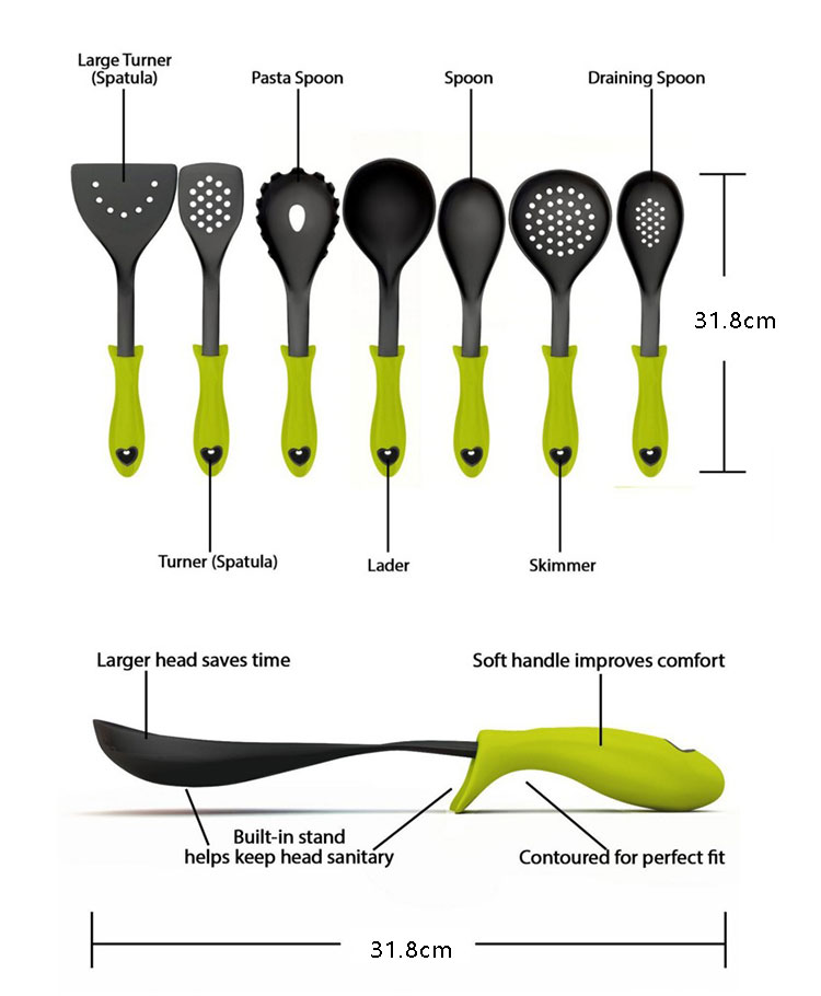 High resistant cooking baking utensil pasta tools soup spoon nylon kitchen set