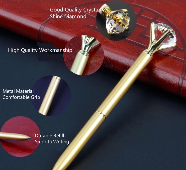 2 Luxury  Diamond crystal Pen rose gold with velvet pink  pen pouch