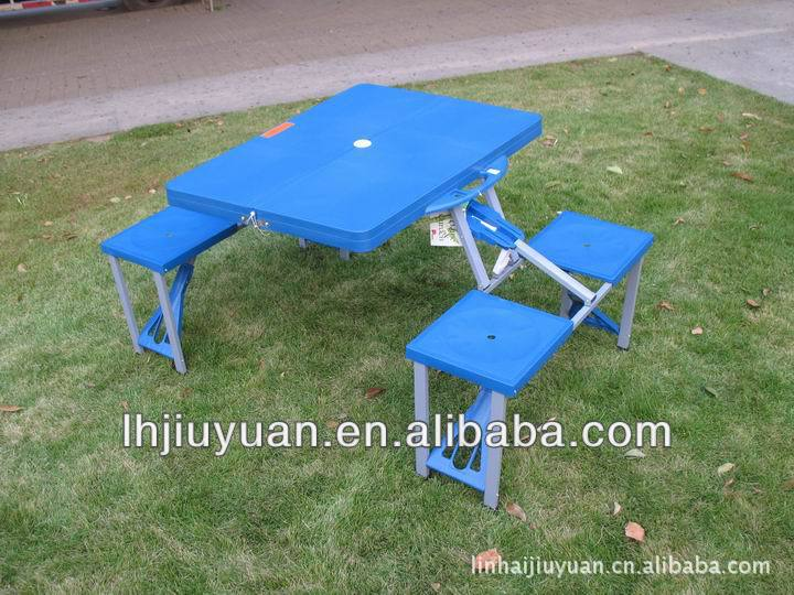 outdoor plastic portable picnic folding table of 4 chairs