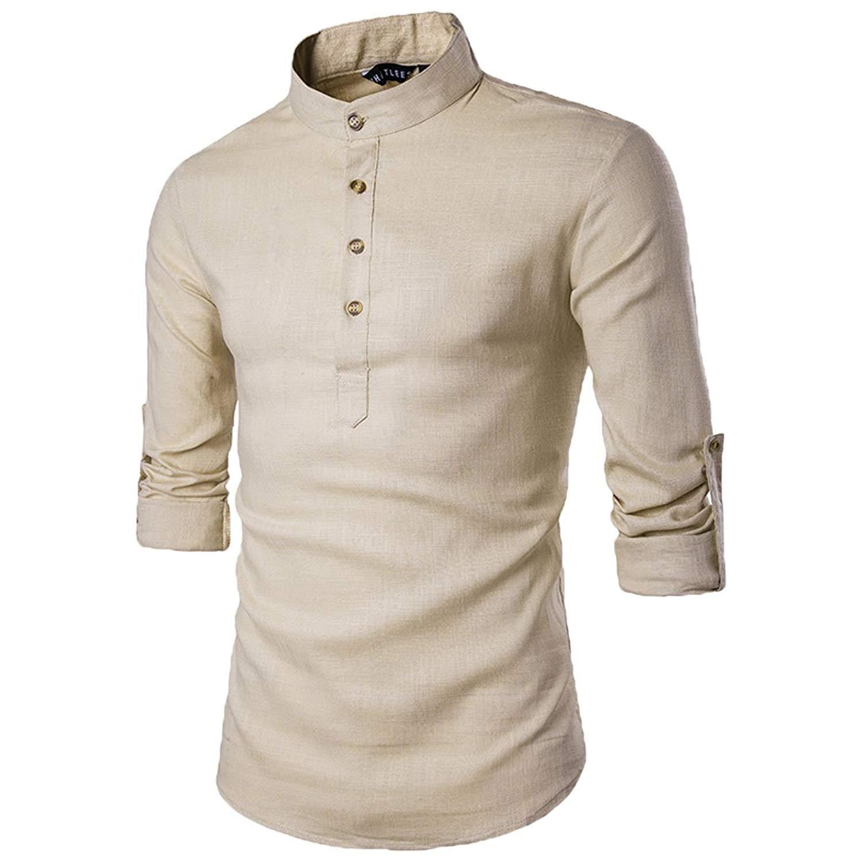 D/&R Fashion Mens Low Grandad Collar Slim Fit Roll Up Sleeves Shirt