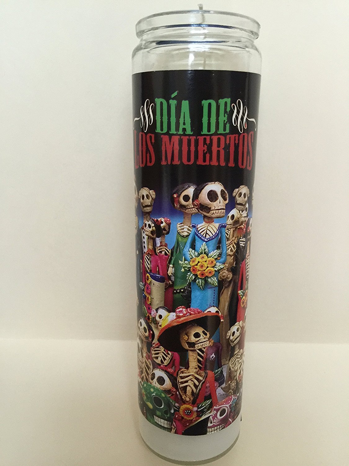"CYBER MONDAY WEEK DEAL! CYBER MONDAY WEEK DEAL! Religious Prayer Candle | Day of the Dead Candle (Dia de los Muertos #1) Unscented (1) | 8"" Tall Jar Candle for Candlelight Vigils"