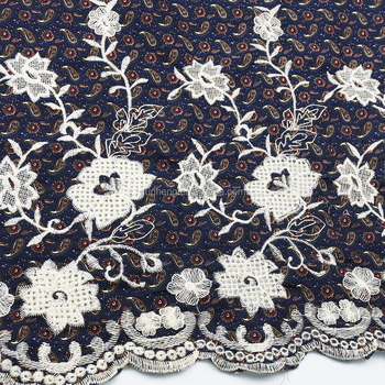 For Dress ,Many new designs -Border Embroidered cotton printed fabric