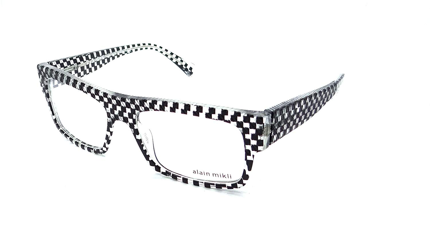 53f971e2734 Alain Mikli Rx Eyeglasses Frames A01344M BP01 54x16 Crystal Checkered Black