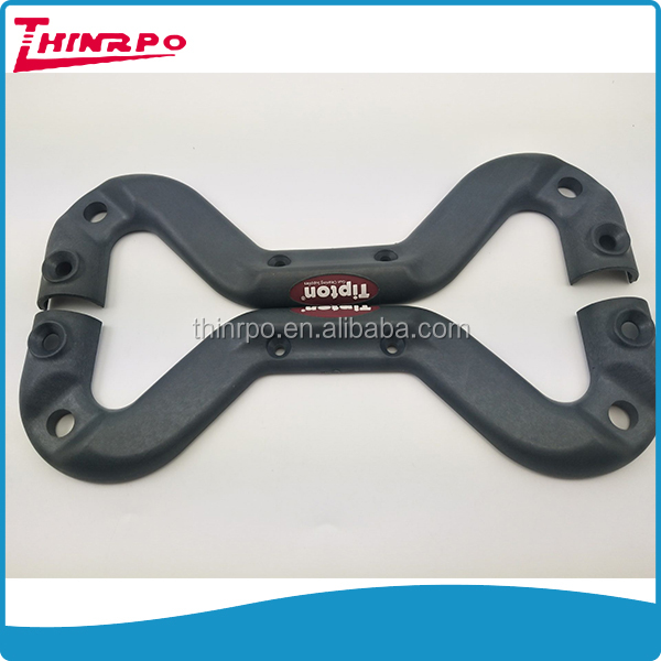 Molded plastic handle hard ABS/PP plastic grip handle plastic bridge handle with silicone 3D label