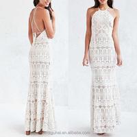 JHB1919 Gorgeous Korean Design White Lace Halter Night Maxi Ladies Party Dresses Gown