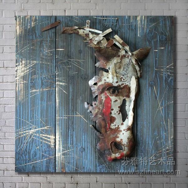Hot Ing Special Horse Metal Art On Wood