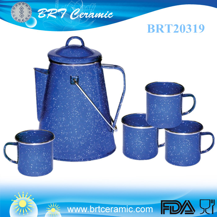 wholesale enamel coffee pot mug set campfire mug set