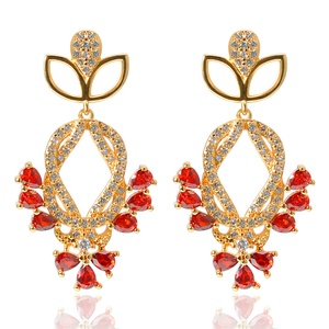 2019 Flower Fashion Jewelry 24k Solid Gold Plated Red Cubic Zirconia Pear Crystal Ruby Floral Dangle Drop Earrings For Women