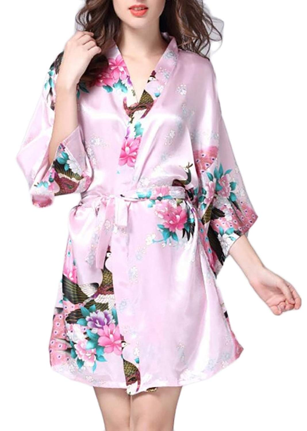 9f6cfe1a3a Get Quotations · Britainlotus Womens Floral Short Satin Kimono Robes Bride  and Bridesmaid Nightgowns