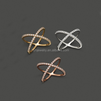 Women Fashion Accessories Aaa Zircon X Shape Ring Antique 925 Sterling Silver Cross Rings