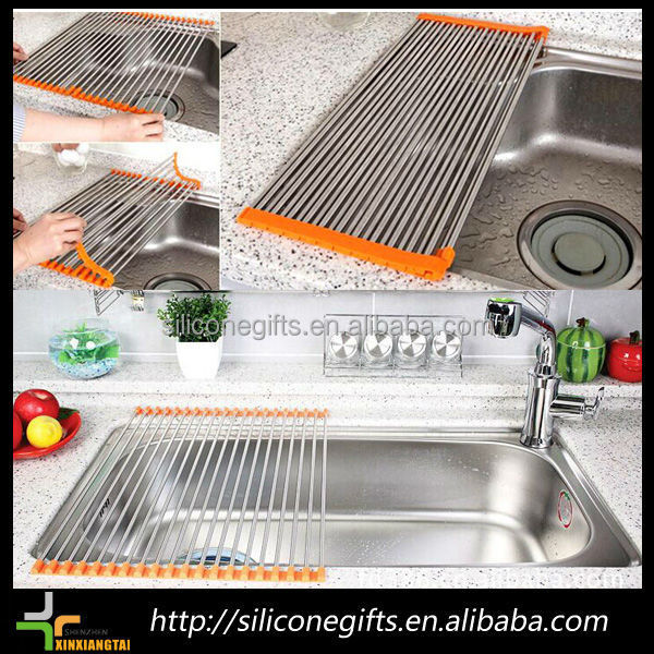 Household Item Silicone Stainless Steel Sink Rack Collapsible Dish Drainer