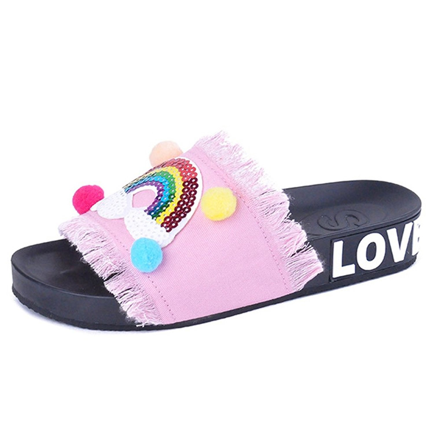 68af27ffdb4b Get Quotations · T-JULY Women s Summer Denim Slide Sandals Non Skid Colored  Ball Smiling Face Rainbow New