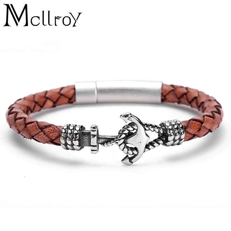 Mcllroy new style fashion brand retro woven leather rope bracelet anchor bracelet 316L titanium steel buckle bangle men, Gold/silver