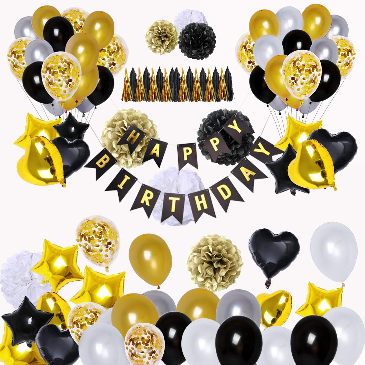 Get Quotations BRT Black And Gold Party Decorations90Pcs Happy Birthday Banner Star Heart Foil Balloons