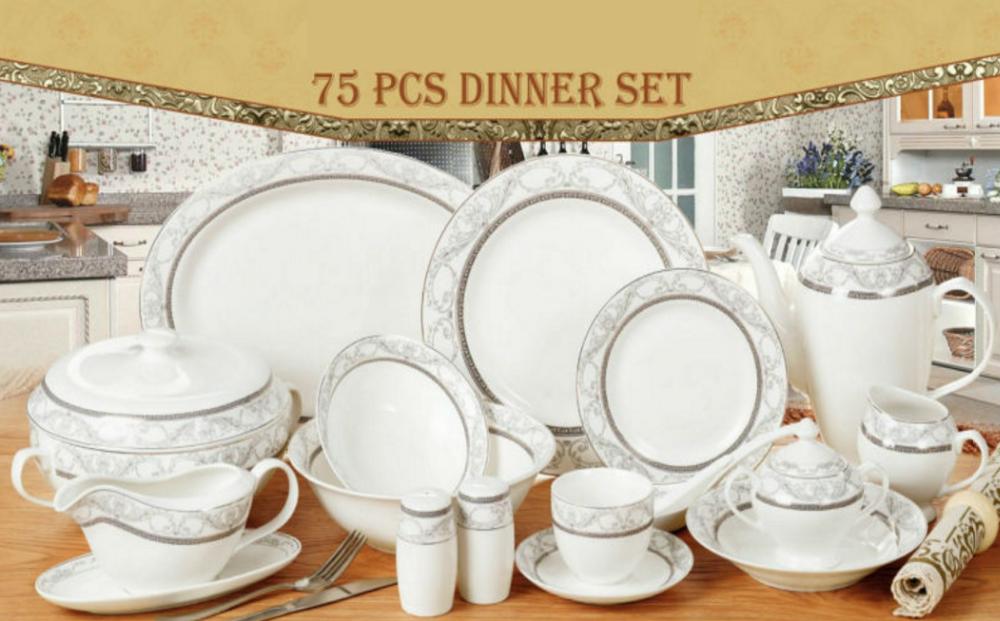 75pcs Decal Round Bone China Dinner Set With Royal Design