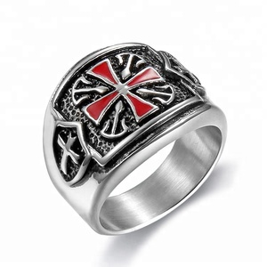 China Factory Knight Armor Templar Crusader Shield Cross Rings, Rem Enamel Cross Rings(HF-089)
