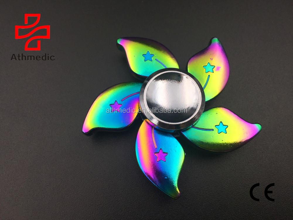 2018 Athmedic new Rainbow aluminium flower of Chinese redbud Hand Spinner Fingertip Gyro Fidget Stress Relief toy