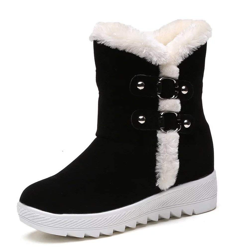 be68a1d65 Get Quotations · Women Winter Warm Thick Ankle Boots Fur Lined Snow Boots  Antiskid Short Boots