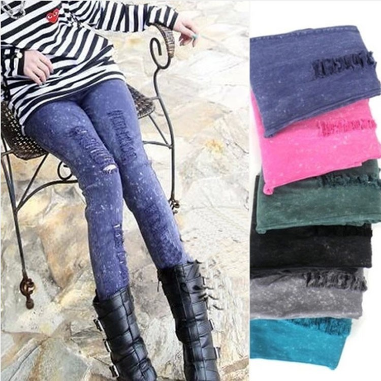 Spring and Autumn Korean Version Candy-colored Snow Ripped Stretch Denim Pants 9052