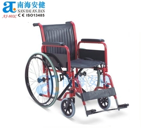 "adjustable footrest iron red plating wheelchair 8""front wheel 24"" rear wheel"