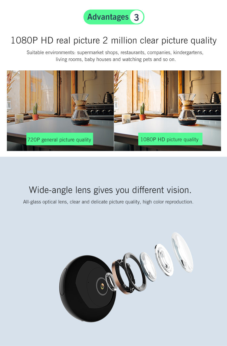 mini  cctv motion  camera WITH  night vision  with HD1280*720