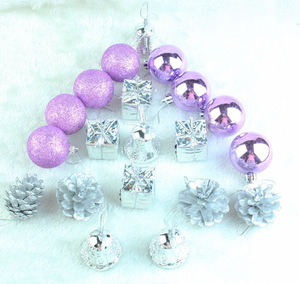 Manufacturer Sales Purple 20pcs Decorative Christmas Hanging Ornaments for Christmas Tree