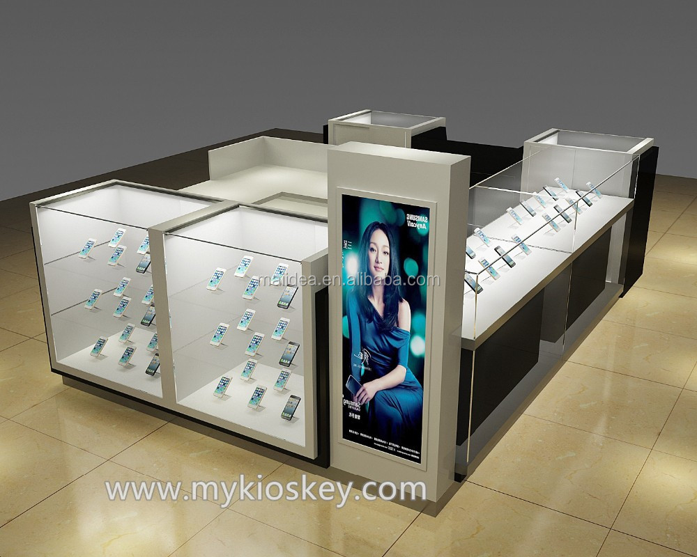 Customized cell phone repair kiosk with glass store mobile for Mobili kios