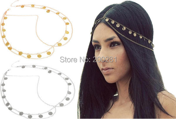 Get Quotations · Bohemian Women Metal Head Chain Hairpiece Headband Fashion  Jewelry Multilayers Round Glitter Pendant Hairband Headpieces Wedding 0055a485d30