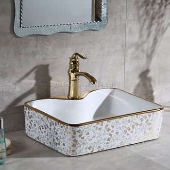 Bangladesh Price Rectangular Countertops Plated Gold Color Basin Ceramic  Bathroom Cabinet Sinks Art Hand Basins For