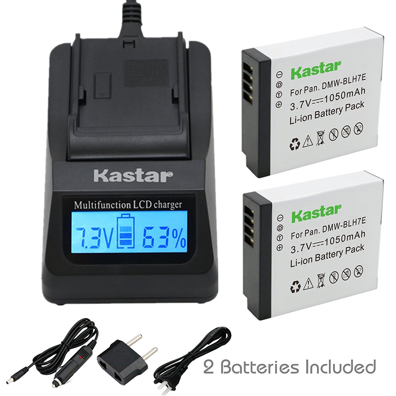 Kastar Ultra Fast Charger(3X faster) Kit and Battery (2-Pack) for Panasonic DMW-BLH7 DMW-BLH7E DMW-BLH7PP work with Panasonic Lumix DMC-GM1 DMC-GM1K DMC-GM5 DMC-GF7 Cameras [Over 3x faster than a normal charger with portable USB charge function]