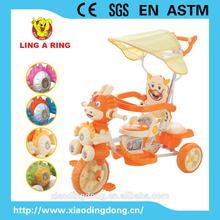 baby tricycle with Chinese dragon head and music and flash 2016 new product