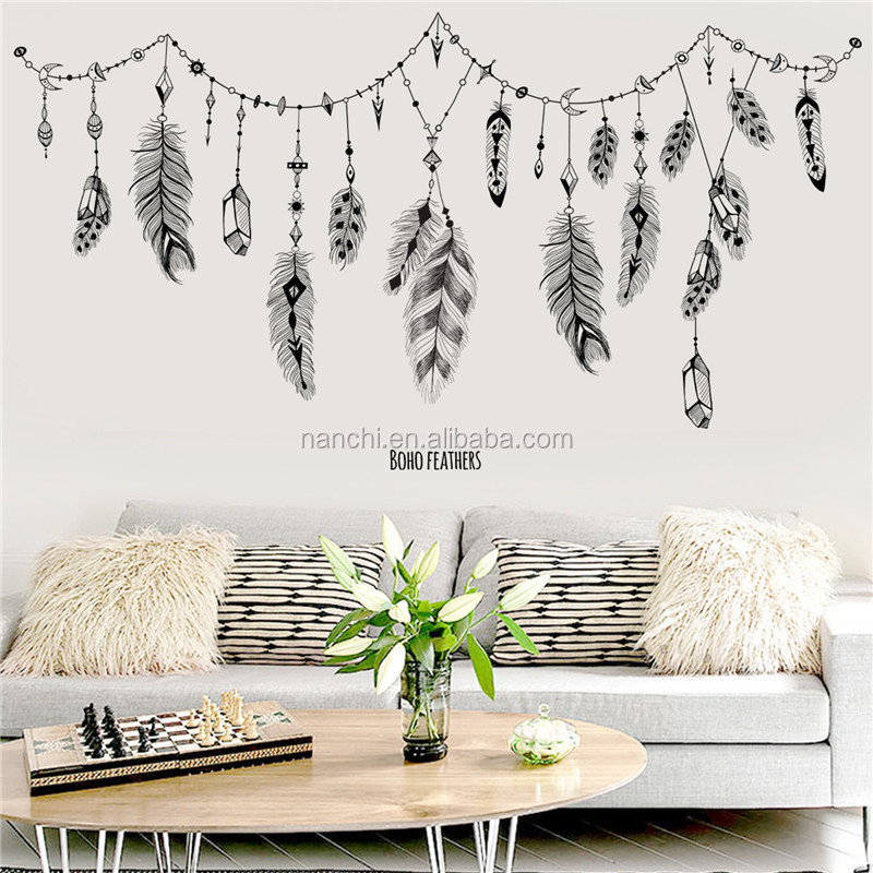 Beautiful feather wall sticker for kids decoration living room bedroom wall decals removable waterproof murals
