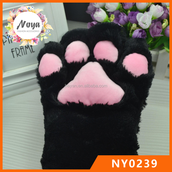 Anime Cosplay Party Costume Black Cat Bear Plush Paw Claw Gloves & Anime Cosplay Party Costume Black Cat Bear Plush Paw Claw Gloves ...