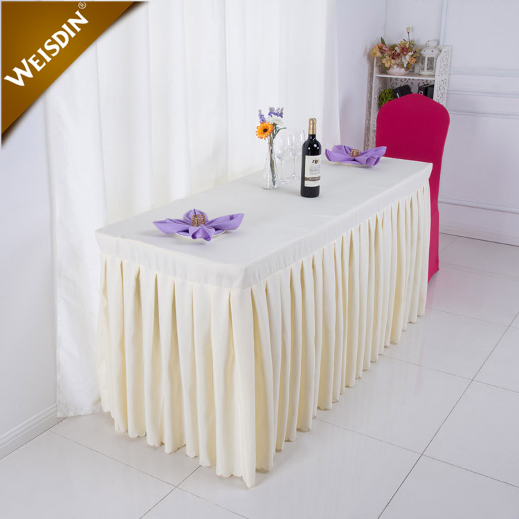 China suppliers party banquet gathered pleated polyester curly willow ruffled table skirt for wedding