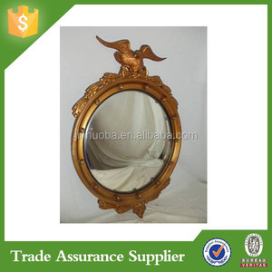 Antique Federal Style Eagle Bullseye Convex Round Mirror Wood Gesso Gold Frame