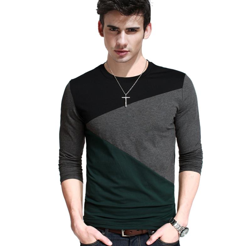 2014 New Arrival Top Freeshipping Casual Broadcloth Full Long Sleeve Contrast Color Long-sleeve T-shirt Male O-neck 100% Cotton